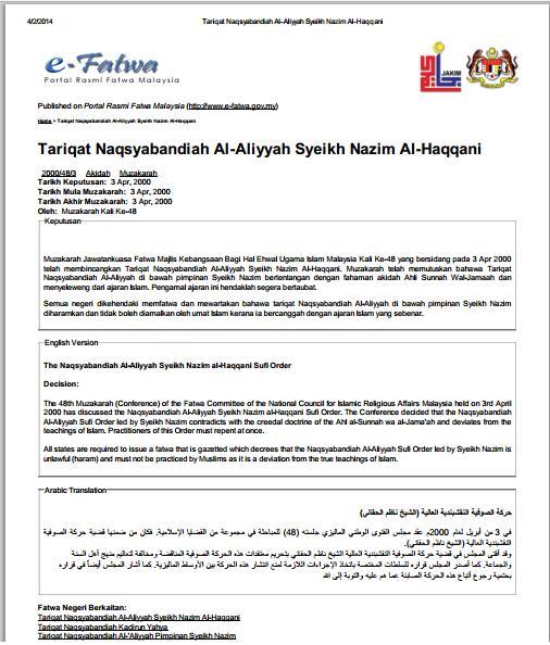 fatwa mufti malaysia jakim \u003d thareqat naqsyabandi haqqani adalahfatwa jakim haqqani sesat